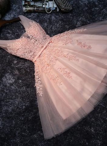 Cute pink v neck tulle lace short prom dress, homecoming dress