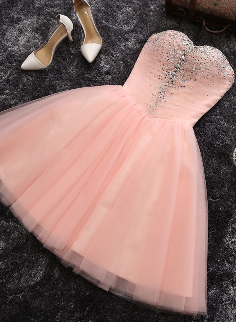 Pink sweetheart neck tulle short prom dress, homecoming dress