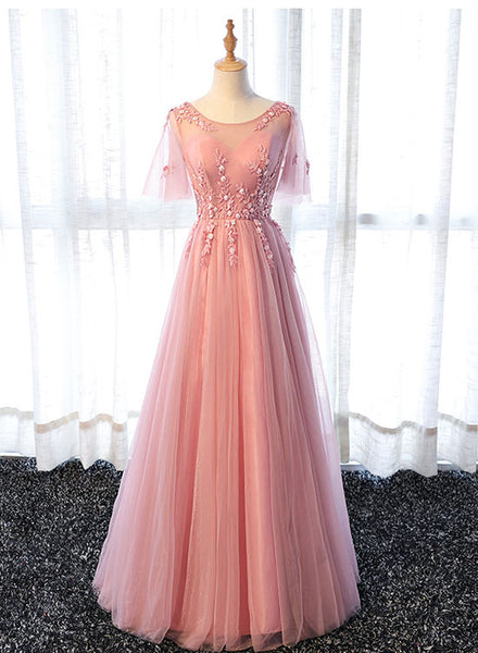 Pink round neck lace long prom dress, pink evening dress