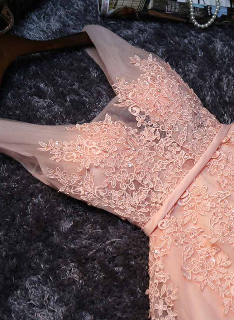 c268c38ee27 ... Cute pink v neck tulle lace short prom dress