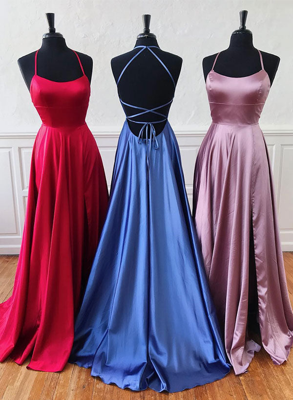 Simple A line satin long prom dress, evening dress