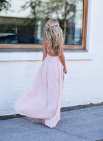 Pink v neck chiffon long prom dress, evening dress
