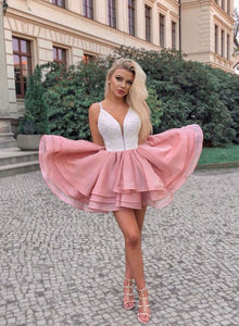 Cute pink tulle lace short prom dress, pink homecoming dress