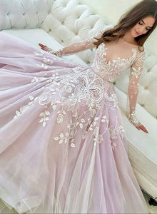 Pink round neck lace long prom dress, long sleeve evening dress