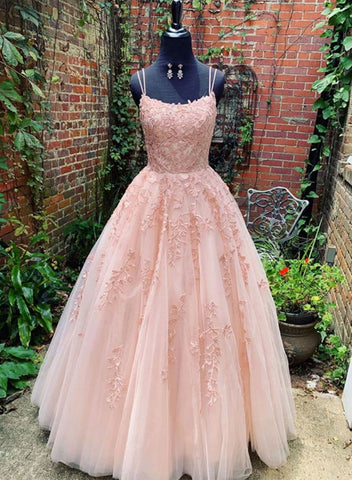 Pink tulle lace long prom dress, lace evening dress
