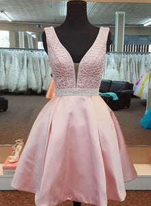 Pink v neck short prom dress, homecoming dress