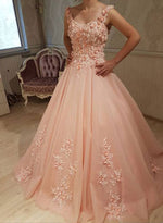 Pink tulle applique long prom dress, pink evening dress