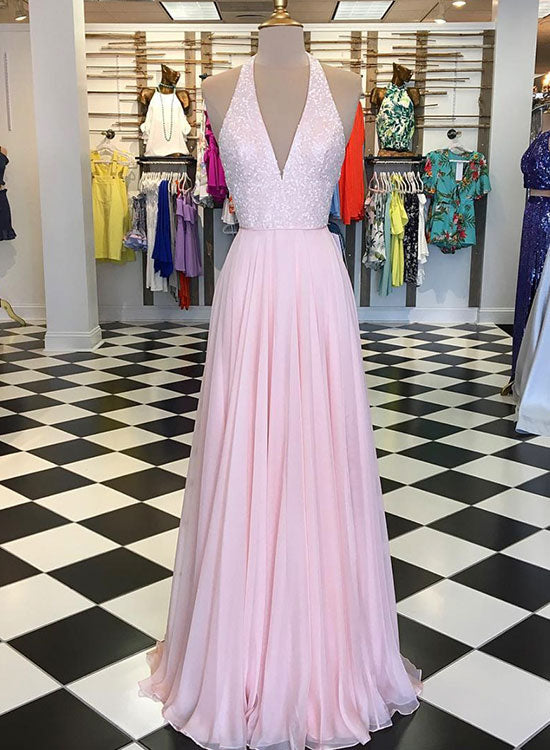 Pink v neck sequins chiffon long prom dress, pink evening dress