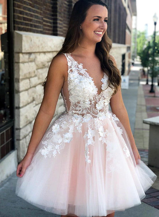 37b76cae8694 Pink lace tulle short prom dress, homecoming dress – trendty