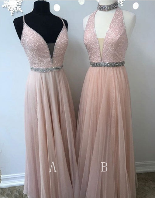 Light pink chiffon sequins long prom dress, evening dress