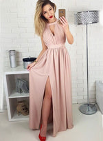 Simple pink chiffon long promm dress, formal dresses