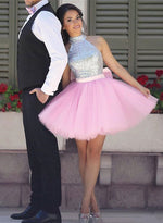 Cute pink tulle sequins short prom dress, homecoming dress