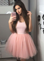 Pink tulle short prom dress, pink evening dress