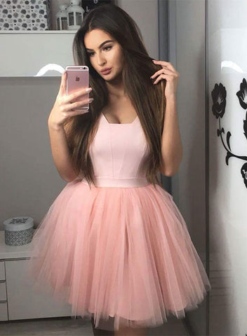 1a0ce11eb8e Pink tulle short prom dress
