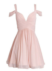 Simple pink v neck chiffon short prom dress, homecoming dress