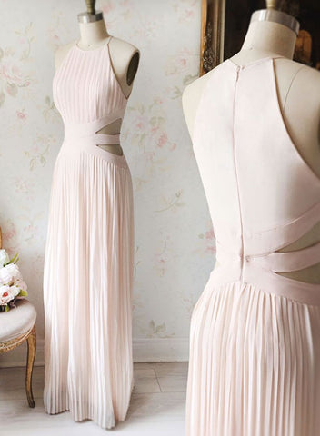 Simple pink chiffon long prom dress, evening dress