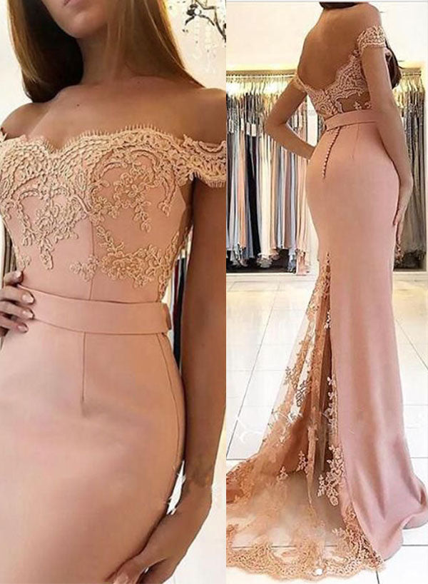 Mermaid lace long prom dress, evening dress