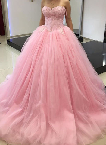 Pink lace tulle sweetheart neck long prom dress, evening gown