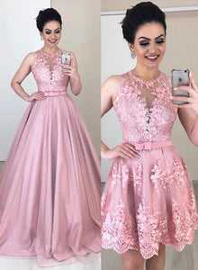 Pink two pieces lace tulle long prom dress, evening dress