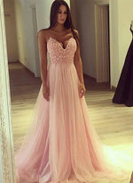 Pink A line tulle long prom dress, pink evening dress