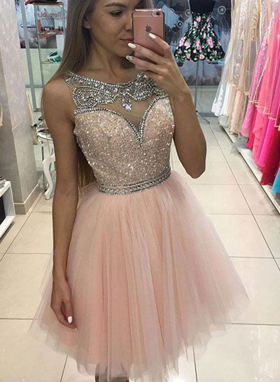 Cute pink sequins tulle short prom dress, pink evening dress – trendty