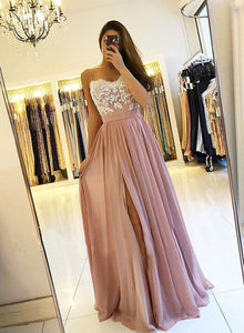 Pink chiffon lace long prom dress, pink evening dress