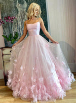 Pink tulle long prom dress, pink evening dress