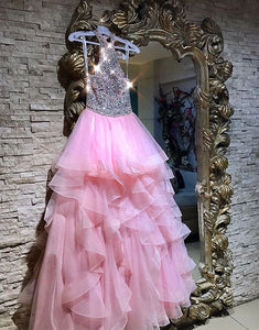 Sparkly pink long prom dress, pink evening dress
