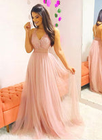 Pink v neck tulle beaded long prom dress, pink evening dress