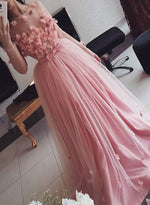 Pink round neck tulle long prom dress, long sleeve evening dress