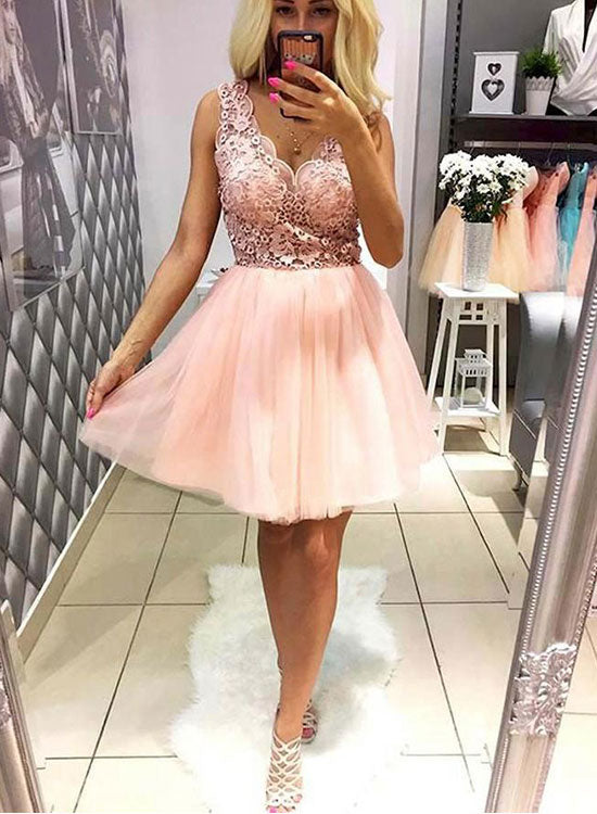 d8837b82cf1b Pink v neck lace tulle short prom dress, homecoming dress – trendty