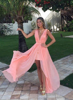 Stylish pink v neck chiffon long prom dress, pink evening dress