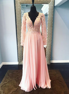 Pink v neck lace chiffon long prom dress, evening dress