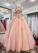 Pink tulle beads long prom dress, pink evening dress