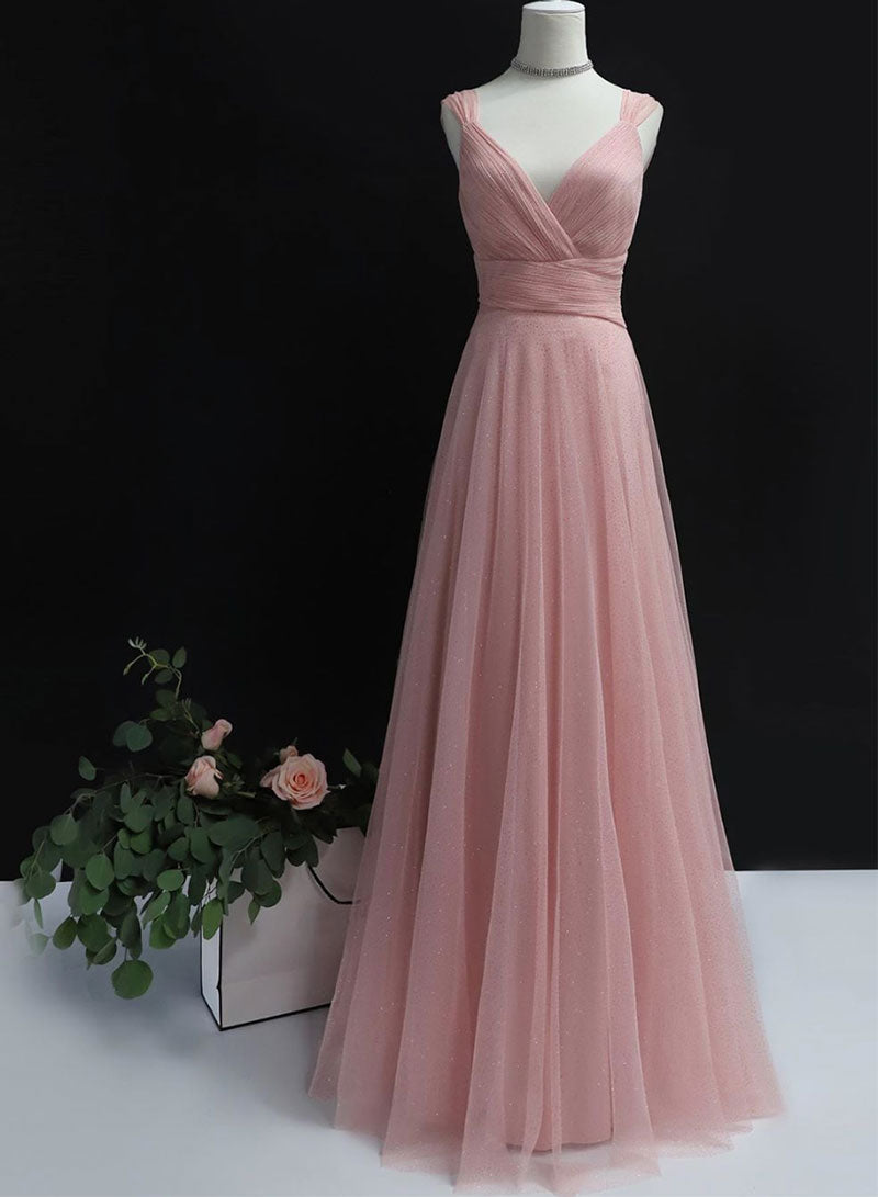 Pink tulle long prom dress simple evening dress