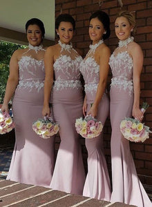 Unique pink high neck lace long prom dress, bridesmaid dress