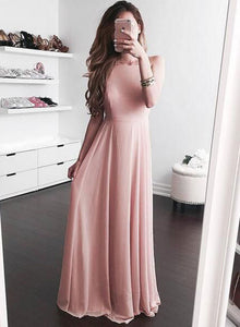 Pink chiffon A line long prom dress, formal dress