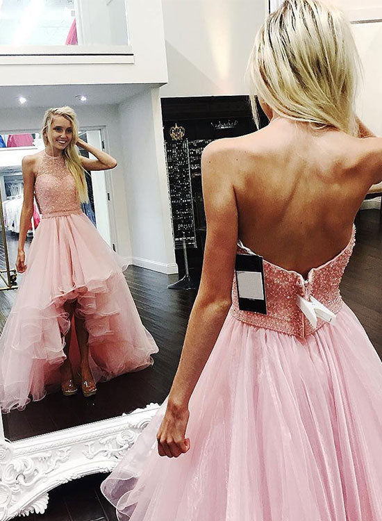 Custom made pink hith low prom dress, pink evening dress