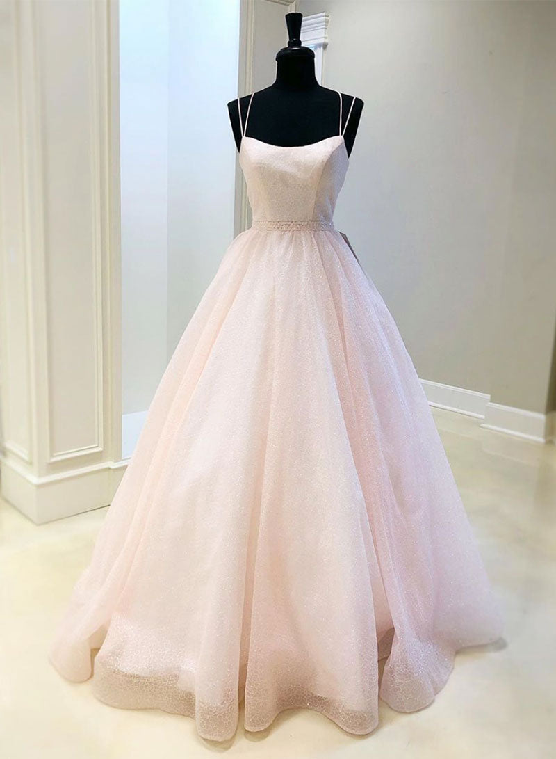 Pink tulle sequins long prom dress pink evening dress
