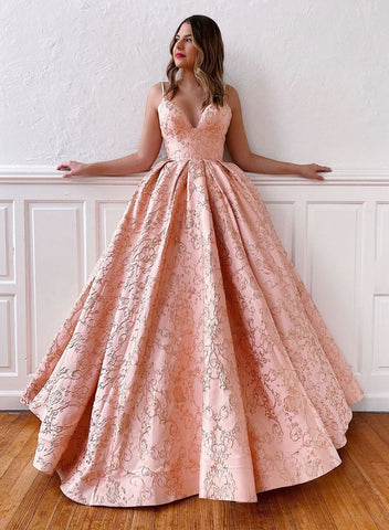 Pink a line long prom gown formal dress