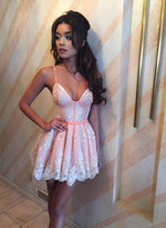 Pink lace short A line prom dress, homecoming dress