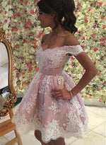 Cute lace off shoulder short prom dress, lace homecoming dresses