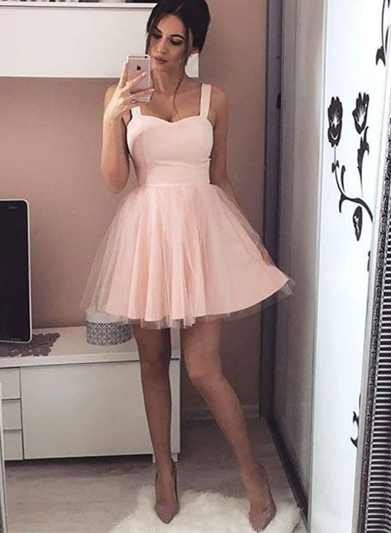 Simple pink A line sweetheart neck short prom dress