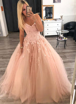 Pink sweetheart neck lace tulle long prom dress, pink evening dress