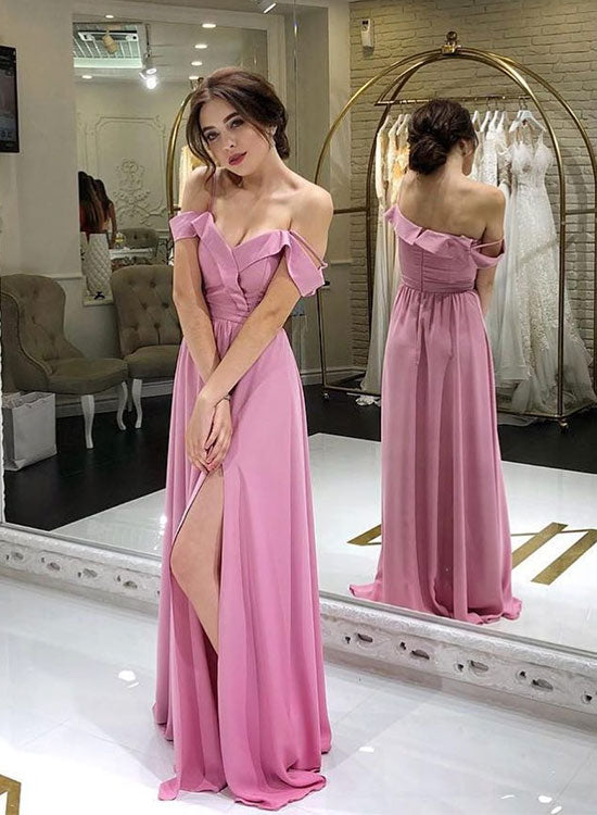 Simple pink v neck chiffon long prom dress, pink evening dress