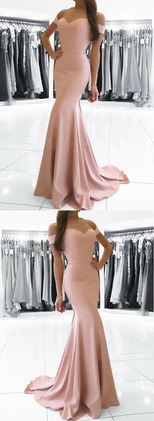 Simple pink mermaid long prom dress, pink evening dress