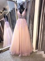 Pink v neck tulle lace long prom dress, pink evening dress