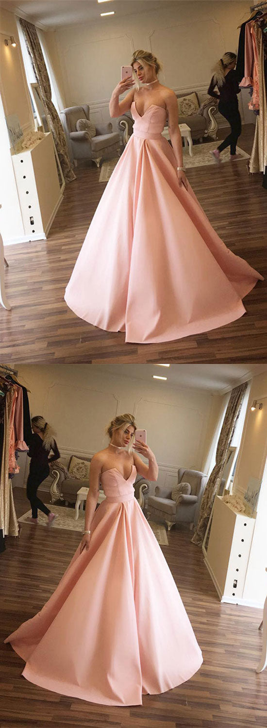 Simple pink v neck long prom gown, evening dress