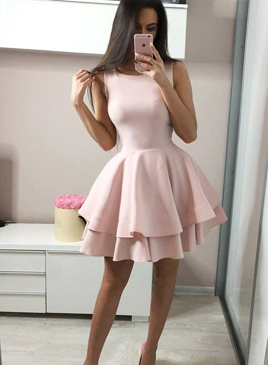 Simple pink round neck short prom dress, evening dress