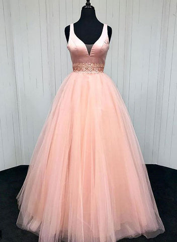 Pink v neck long prom dress, pink evening dress